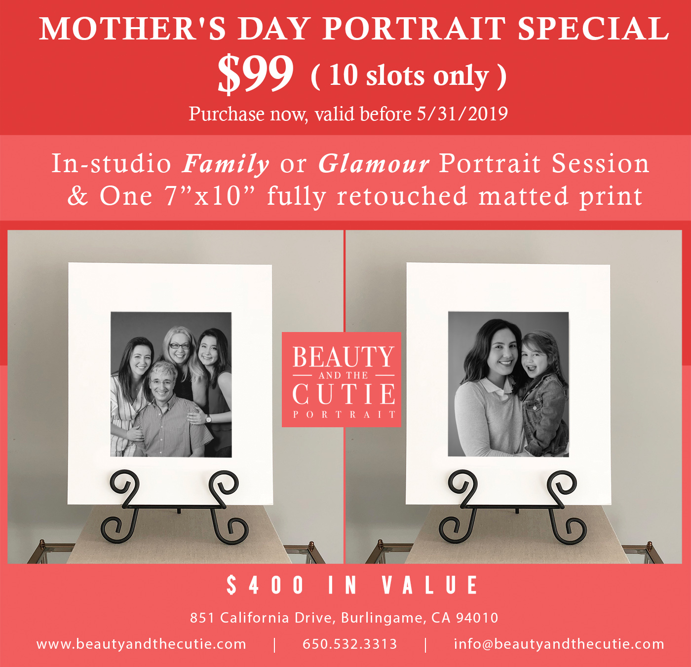 Mother's Day $99 Family / Glamour Portrait Promotion !